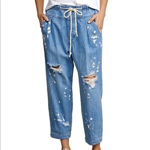 Free People Mixed Up Utility Jeans Crops Splatter